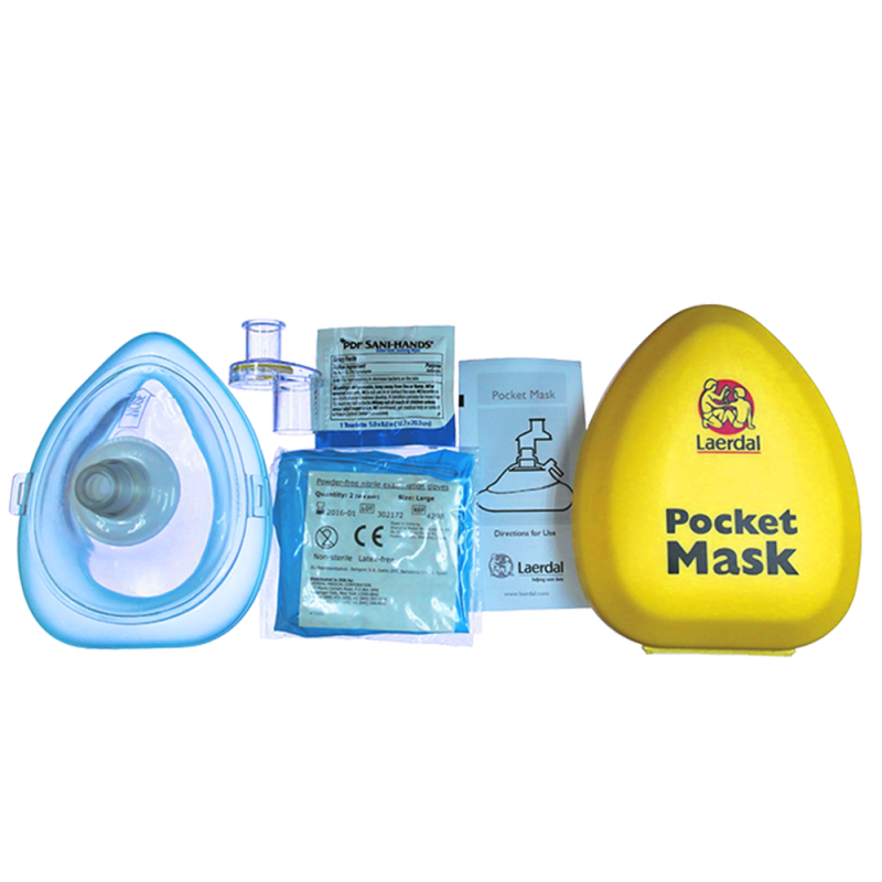 Laerdal Pocket Mask with Glove & Wipe in Yellow Ha...